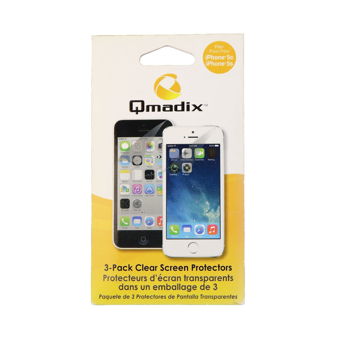 Qmadix iPhone 5/5C/5S Plain Screen Protector Pack of 3  - Clear - Macs Plus More
