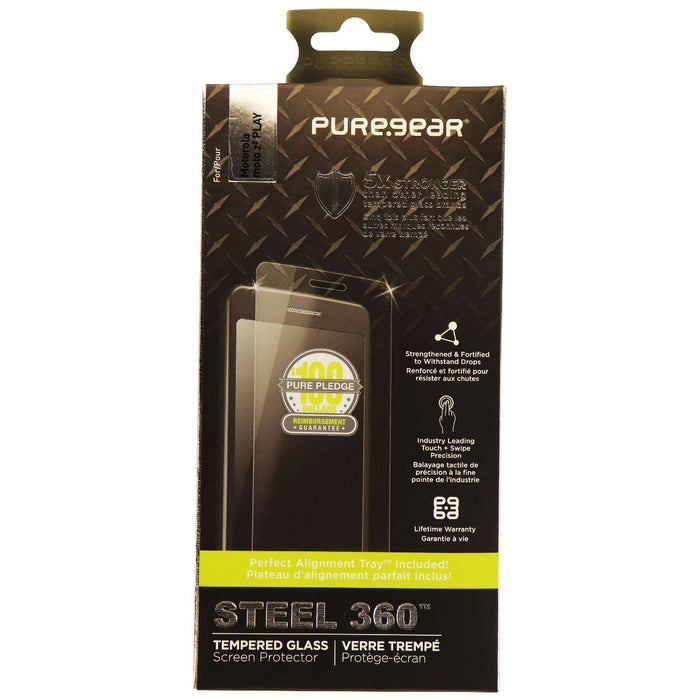 PureGear Steel 360 Tempered Glass Screen Protector for Moto Z2 Play - Clear - Macs Plus More