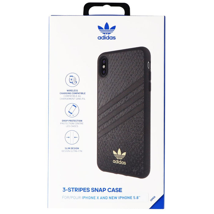 Adidas 3-Stripes Snap Case for Apple iPhone XS/X - Black Snake / Gold - Macs Plus More