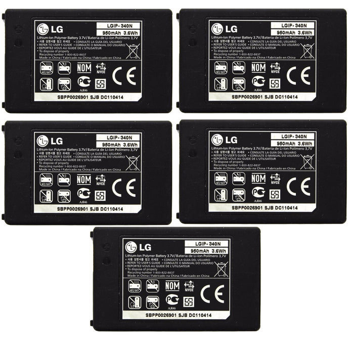 KIT 5x LG LGIP-340N 950 mAh Replacement Battery for LG GR500 Rumor 2 Tritan - Macs Plus More