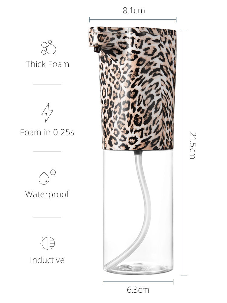 Automatic Foam Dispenser in Leopard print product detail page from Vaucluse Home.