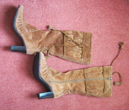 boho suede knee high boots