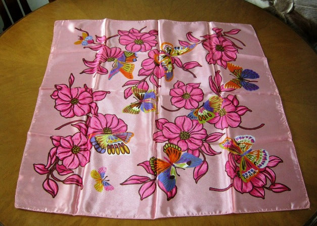 pink butterfly print vintage scarf