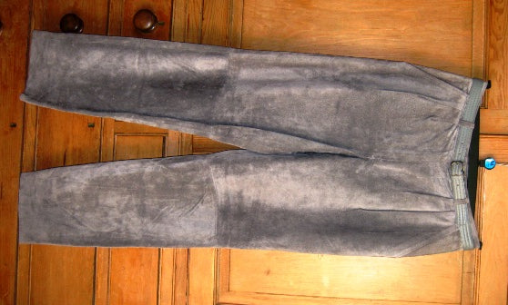 grey suede trousers