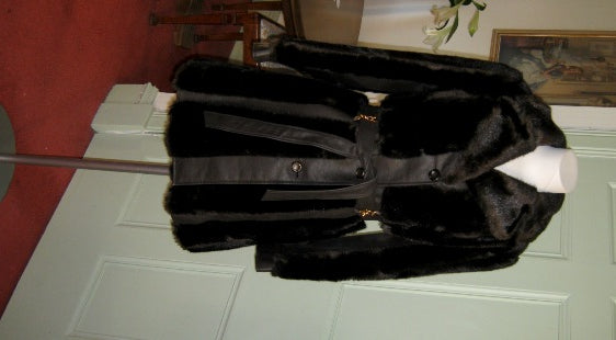 70s vintage brown faux fur and letherette coat
