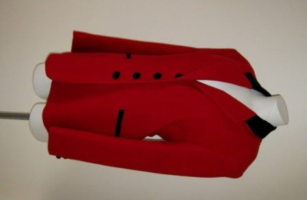 red wool riding jacket with velvet trim