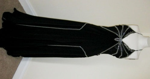 Gatsby style art deco black silk evening gown