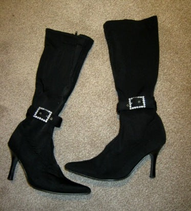 black stretch boots