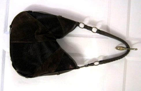 suede and pony hair bag
