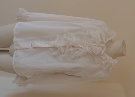 vintage white frilled jabot blouse