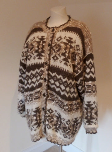 brown and cream patterned cardigan jacket