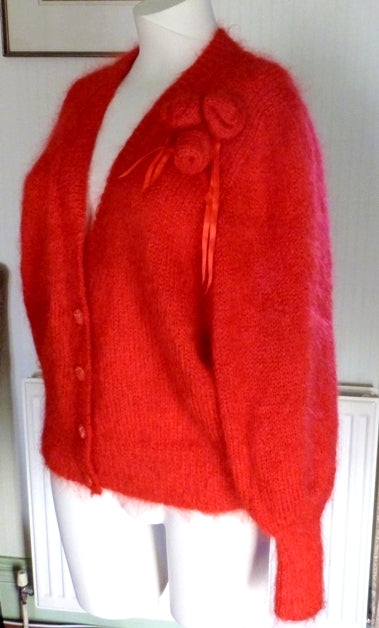 vintage red mohair slouch cardigan