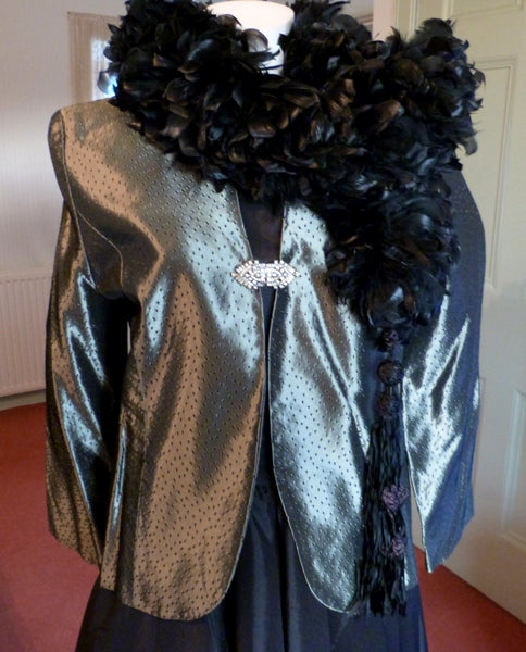 Pewter metallic evening jacket