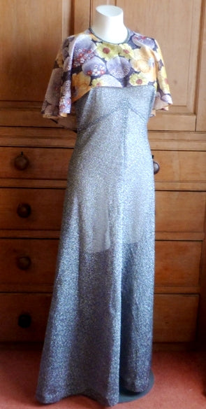 70s silver lurex maxi dress