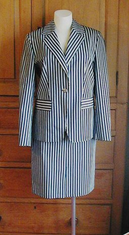 Navy Striped Skirt Suit (La Strada)
