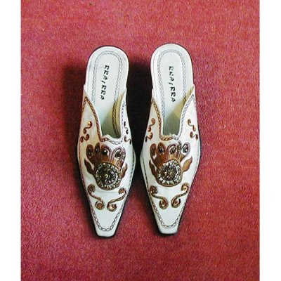 white bejewelled mules