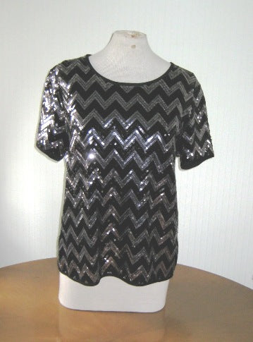 Casamia silver and black sequinned chevron top
