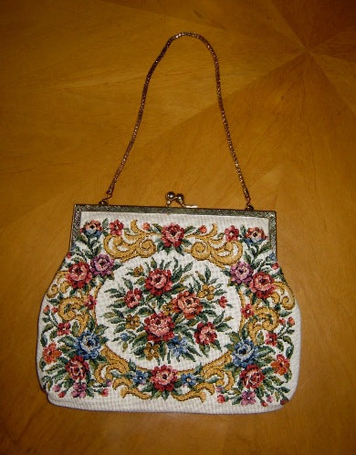 floral needlepoint bag