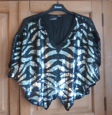 80s vintage silk sequinned evening top