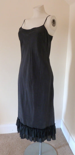 kaliko black silk slip dress