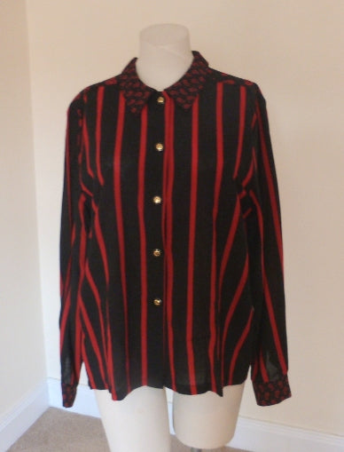 Black and red paisley striped blouse