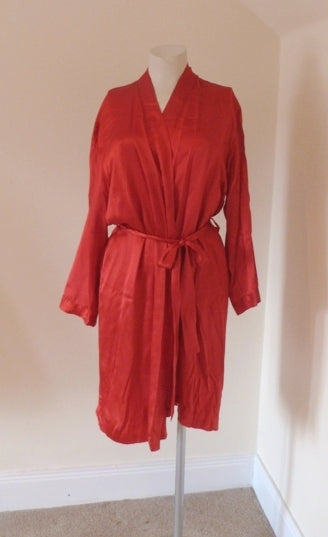 la senza red silk robe