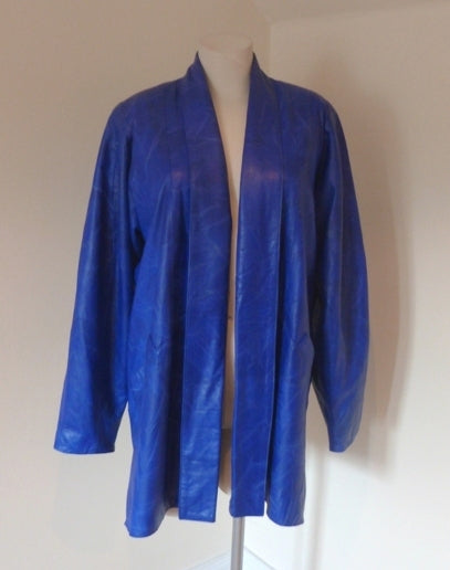 80s new wave electric blue leather jacket