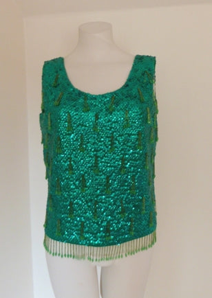 green sequinned top