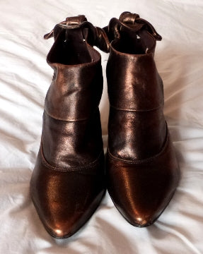 bronze metallic ankle boots
