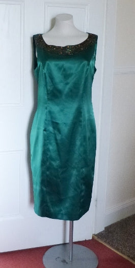 green silky dress