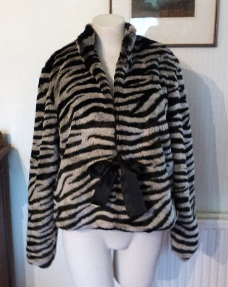 Zebra stripe faux fur jacket