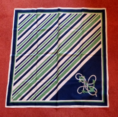 Vintage green and white nautical scarf