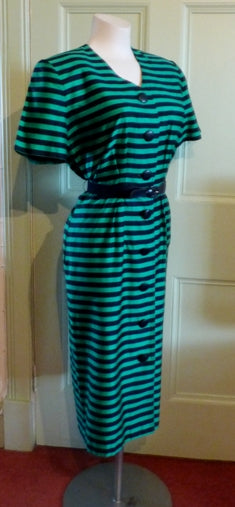 80s Marcelle Griffon green and black striped dress