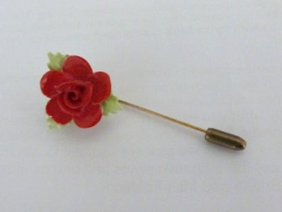 Royal Doulton red rose bone china stick pin