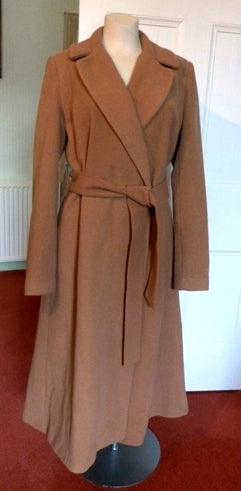 Long Tall Sally classic camel belted wrap coat