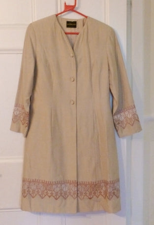 Gina Bacconi nude embroidered evening coat and skirt