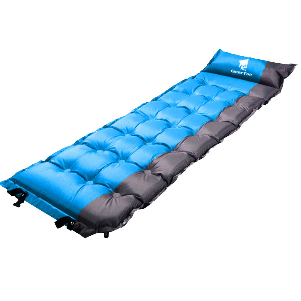 GeerTop 2in Extra Thick Self-Inflating Camp Pad Mat With Pillow