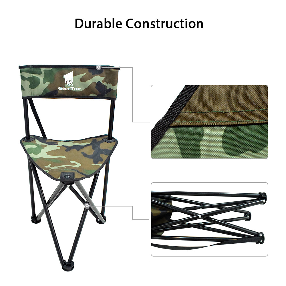 GeerTop Protable Camping Tripod Chair with Backrest