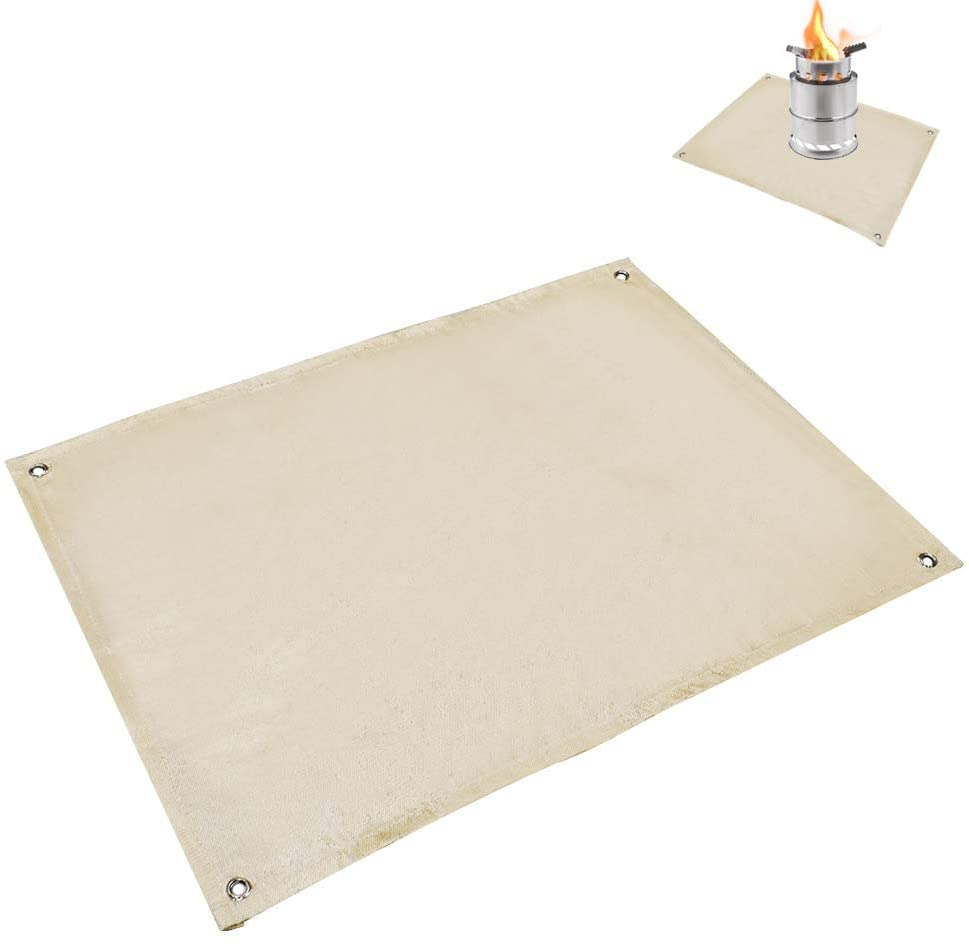 GeerTop Bonfire Sheet Bonfire Sheet Spater Sheet 80cm x 60cm Bonfire Flameproof Heat Resistant Fire Retardant Lawn Protection Camp BBQ BBQ
