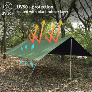 GEERTOP tent tarpaulin waterproof, camping hammock tarpaulin with eyelets, tent tarp, ultra-light rain protection sun protection for ourdoor backpacking camping