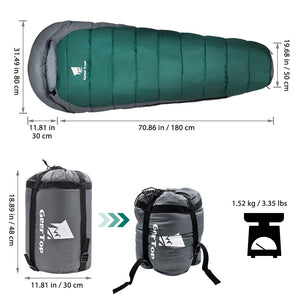GeerTop Heated Sleeping Bag Safe Warm 4 Season Camping Mummy Sleeping Bags