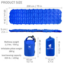 Load image into Gallery viewer, GEERTOP Inflatable Sleeping Pad Foldable Camping Inflating Pad Ultralight Outdoor Tent Pad with Inflated Pillow Portable Air Mattress for Backpacking Travel Hiking Hunting - Waterproof Camp Sleep Mat