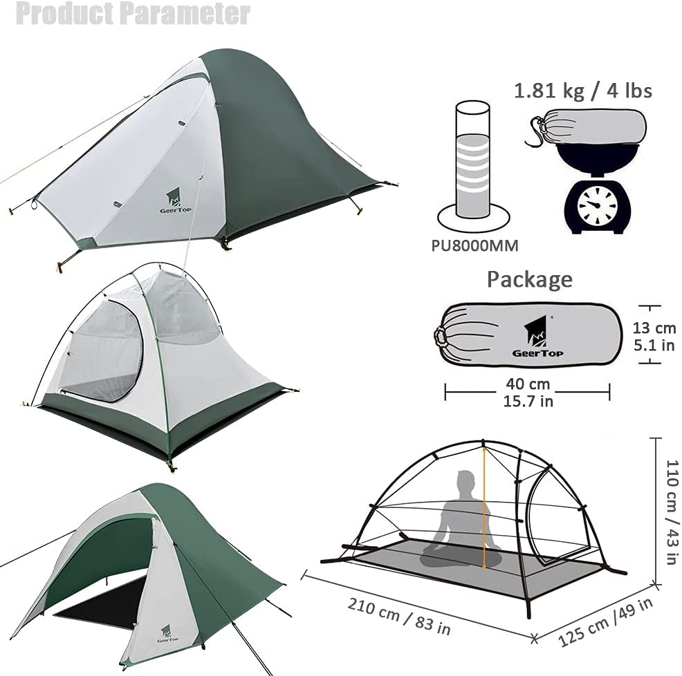 GEERTOP Two Person 3-4 Season Backpacking Tent Waterproof Lightweight Outdoor Dome Camping Tent