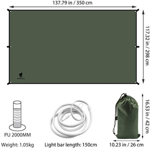 GeerTop Illuminated Tent Tarp Ultralight Waterproof Shelter Rain Fly with LED Strip for Night Lighted