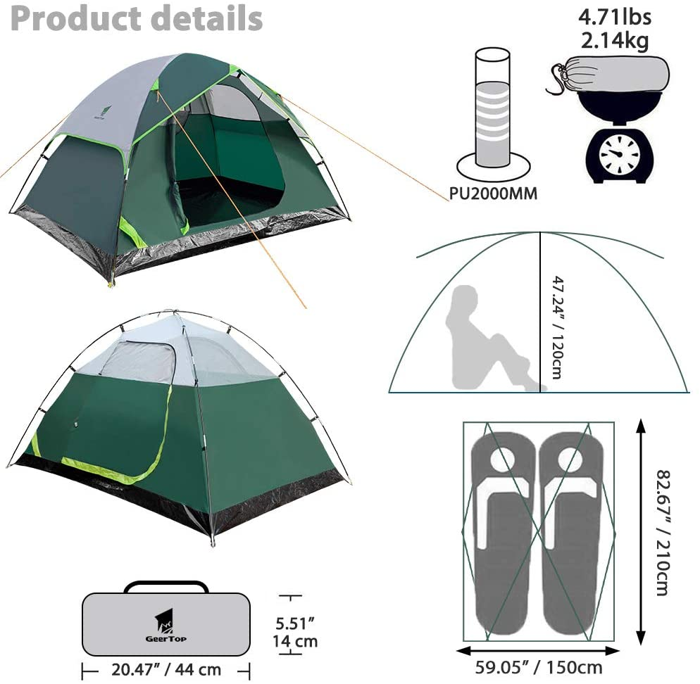 GEERTOP Camping Tent Two Person Ultralight Waterproof Dome Tent for Backpacking Hiking Outdoor Travel - Freestanding Poles