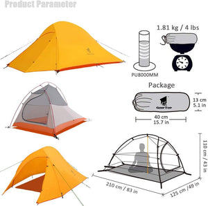 GeerTop Libra 2 Person 3-4 Season 20D Camping Tent