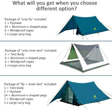 Load image into Gallery viewer, GeerTop Pyramid Plus 2-Person 3-Season 20D Camping Tent