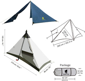 GeerTop Pyramid Ⅰ1 Person 4 Season Camping Tent