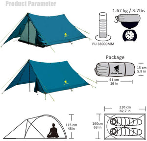 GeerTop Pyramid Plus 2-Person 3-Season 20D Camping Tent