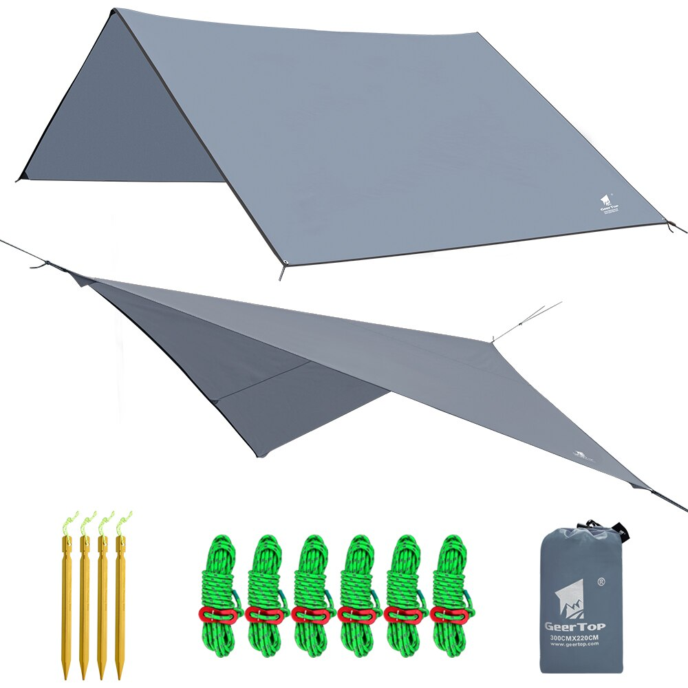 GeerTop Tent Tarp Lightweight Hammock Shelter Ground Sheet with Guy Lines and Pegs